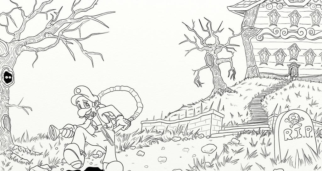 luigi s mansion coloring pages luigi 39 s mansion lineart by cp bam bam on deviantart