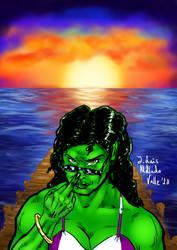 She Hulk and the beach