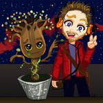 Groot and Starlord Guardians of the Galaxy