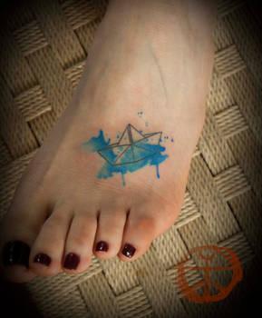 Watercolor Origami Boat