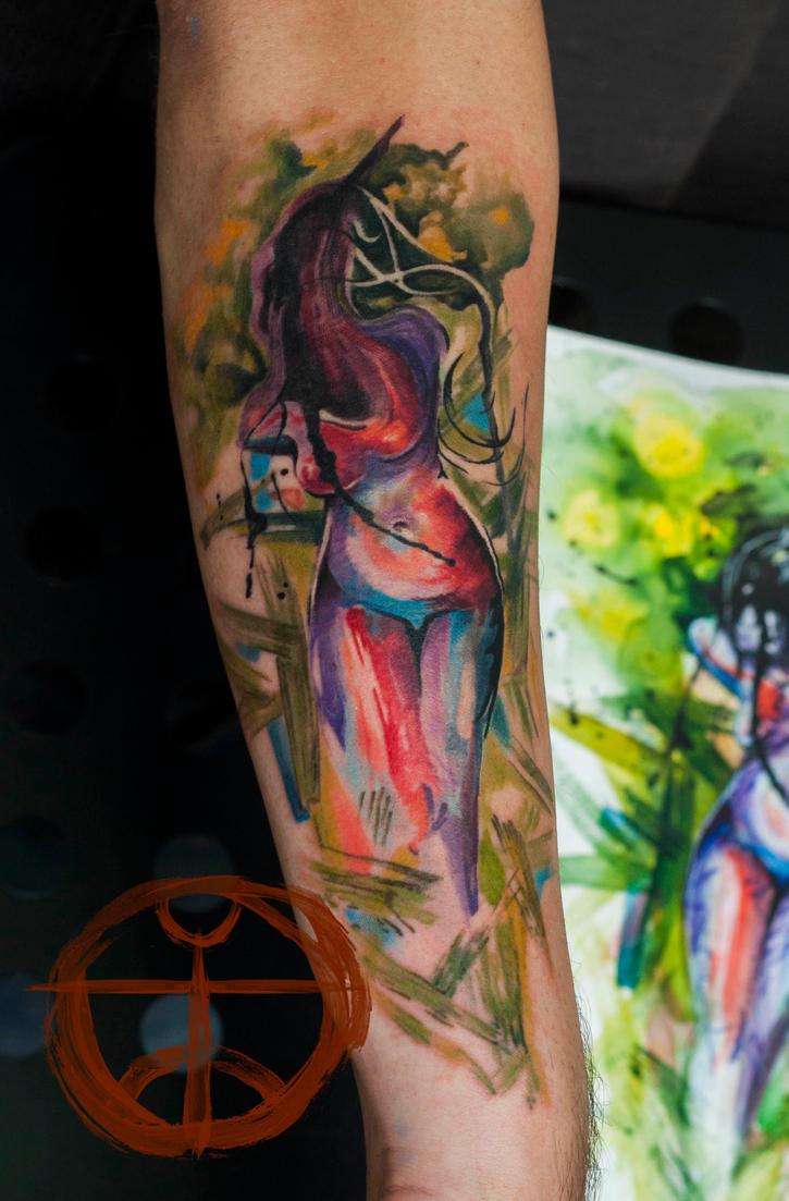 watercolor abstract woman by koraykaragozler