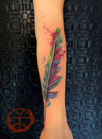 watercolor feather 1 by koraykaragozler