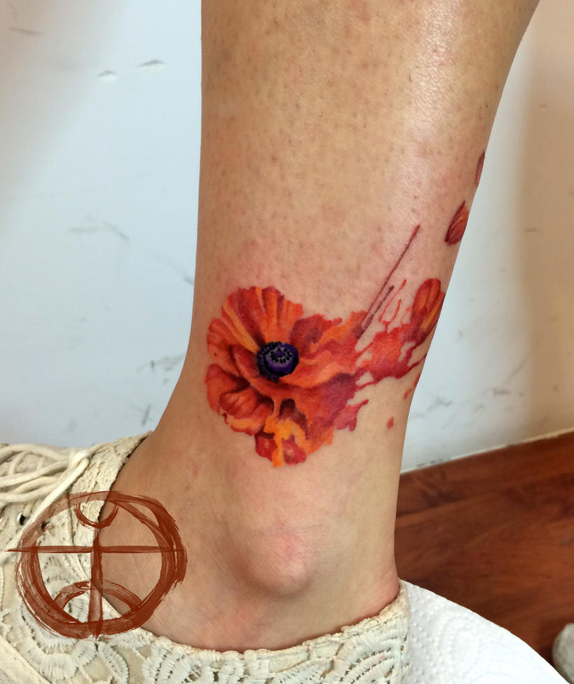 watercolor poppy by koraykaragozler