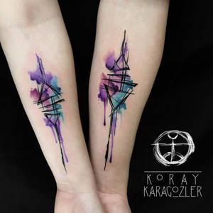 Geometric Abstract Couple Tattoo