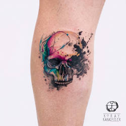 Watercolor Skull by koraykaragozler