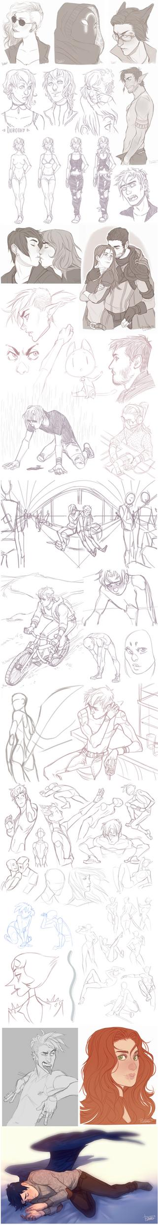 Sketch Dump 14 by GoldenTar