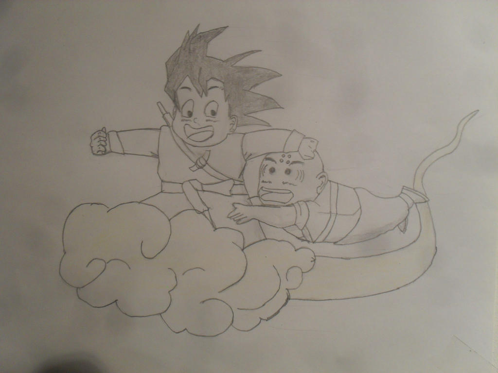 kid goku and krillin by MoonMadMalkav