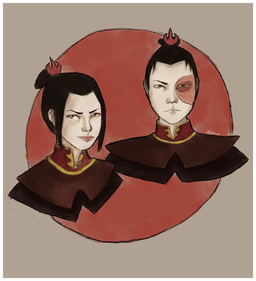 Zuko and Azula by MadnessInMeadow