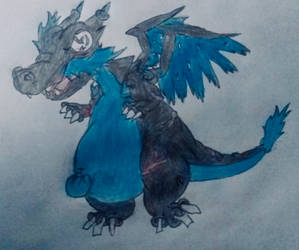mega charizard x by s3be
