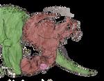 Big t-rex bumps into a bigger brachiosaurus  by s3be
