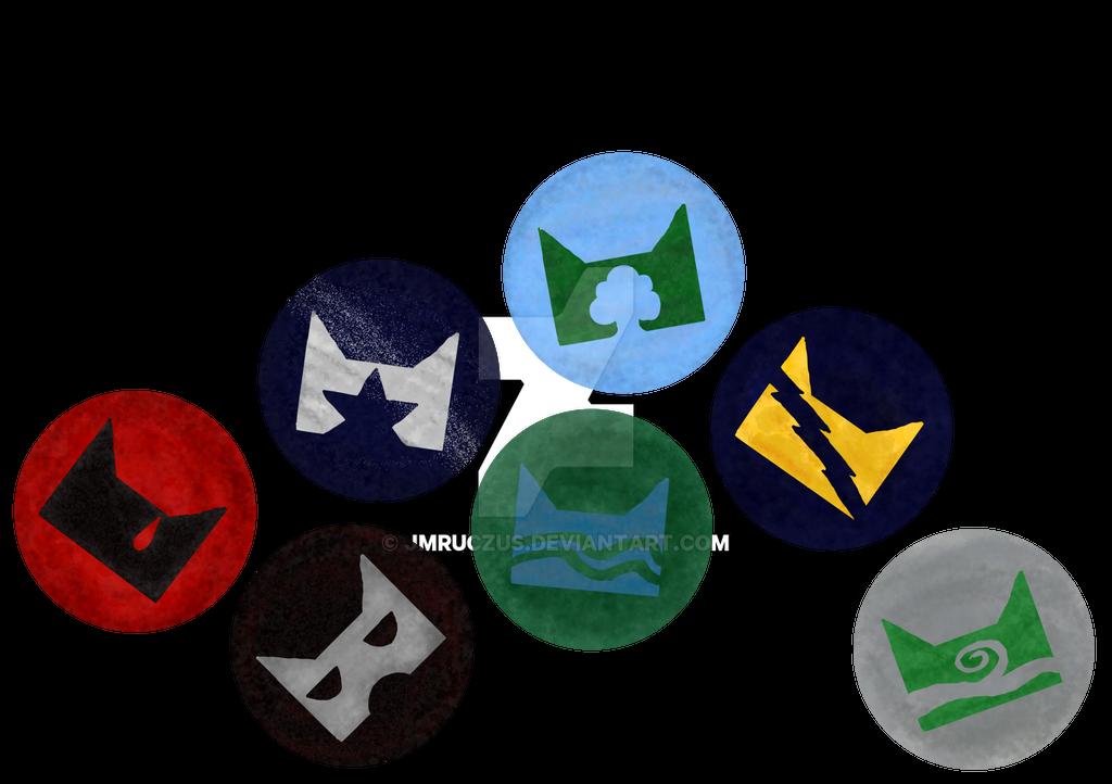 Warrior cat clan symbol badges/stickers/tokens/etc by jmruczus