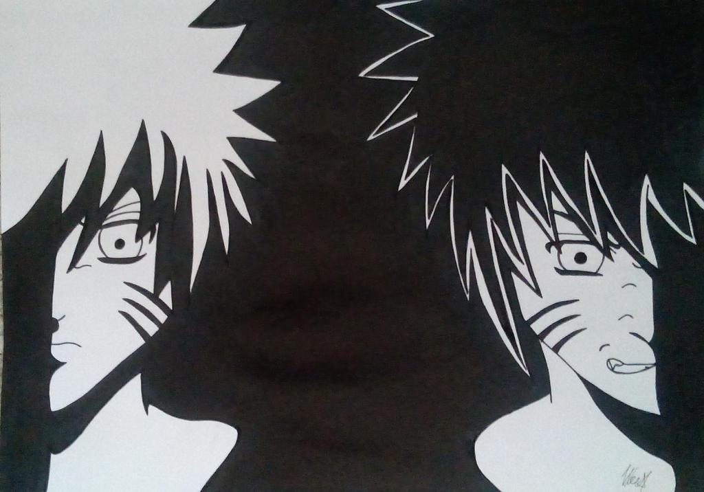 Naruto And Menma, Black-White
