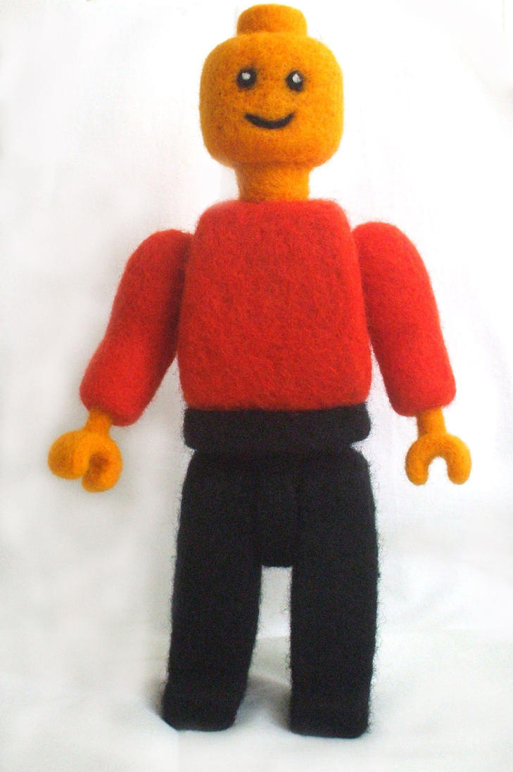 Needle-felted Lego man by Scarygothgirl