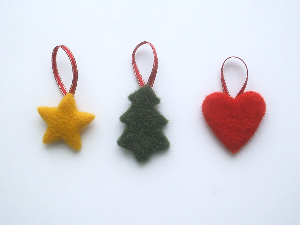 Needle Felted Christmas Decorations Small By