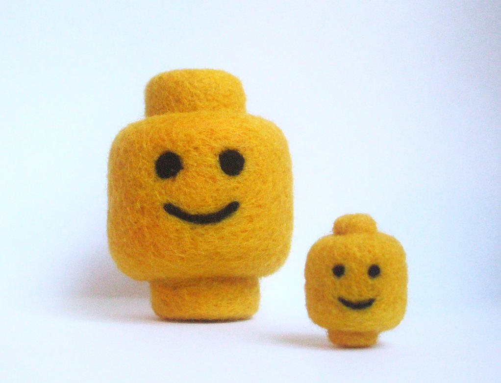 Needle-felted Lego heads by Scarygothgirl