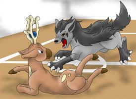 Gym battle: Mightyena-Stantler by Yuutaime