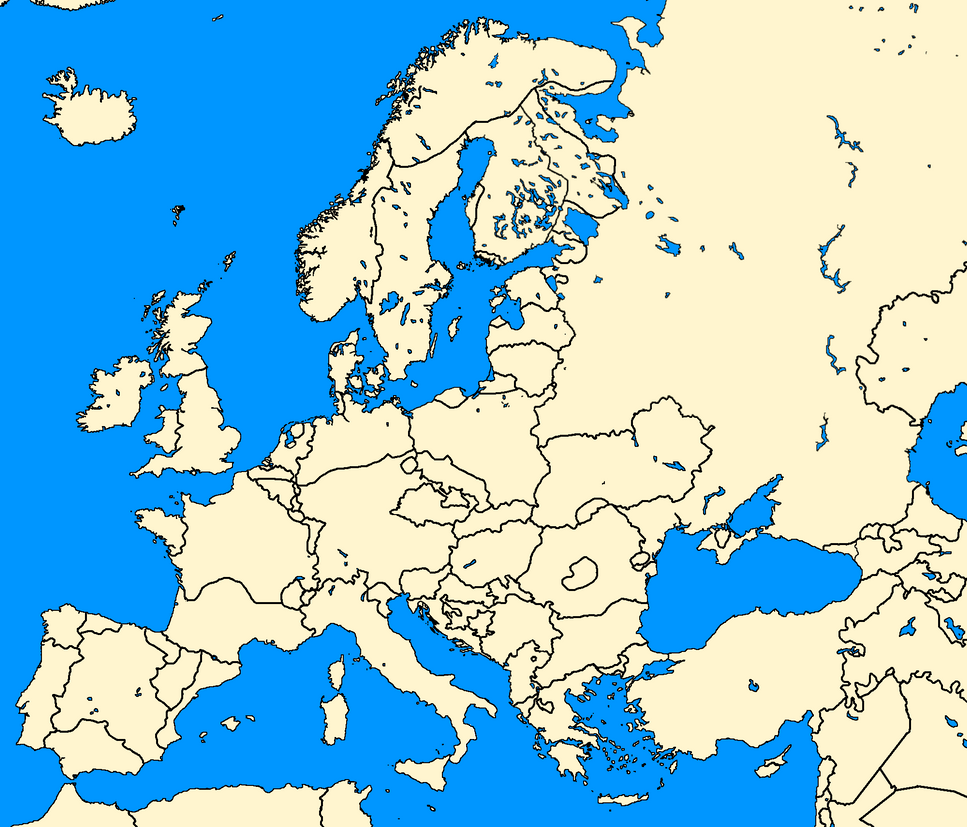 Blank european map