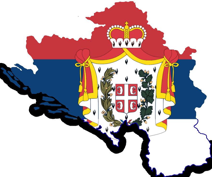 Greater Kingdom Of Serbia Map With Flag by KaradzicsBlankMaps on