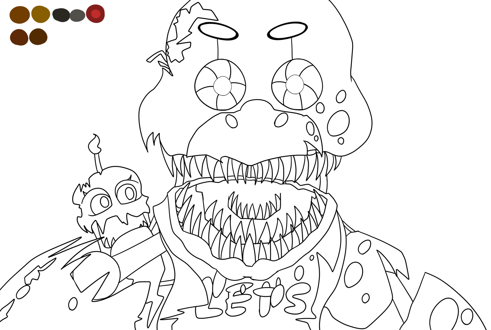 Nightmare chica outline by spaceponyarts on deviantart for Fnaf coloring pages nightmare