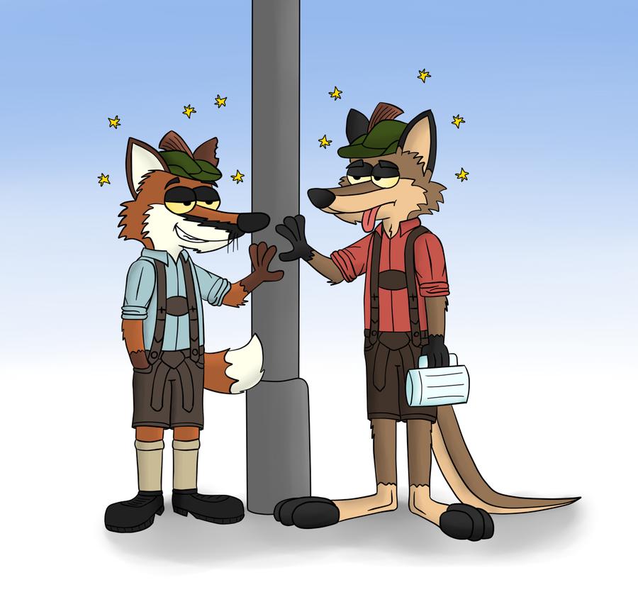 Drunken buddies by LupusNic