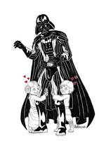 Inktober 27 - Darth Vader and children by Rory221B