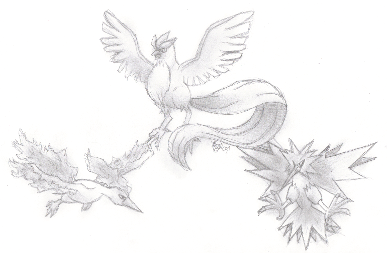 Articuno zapdos and moltres by megumihikari on deviantart for Zapdos pokemon coloring pages