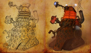 SteamPunk dalek coloring by Mulddyr