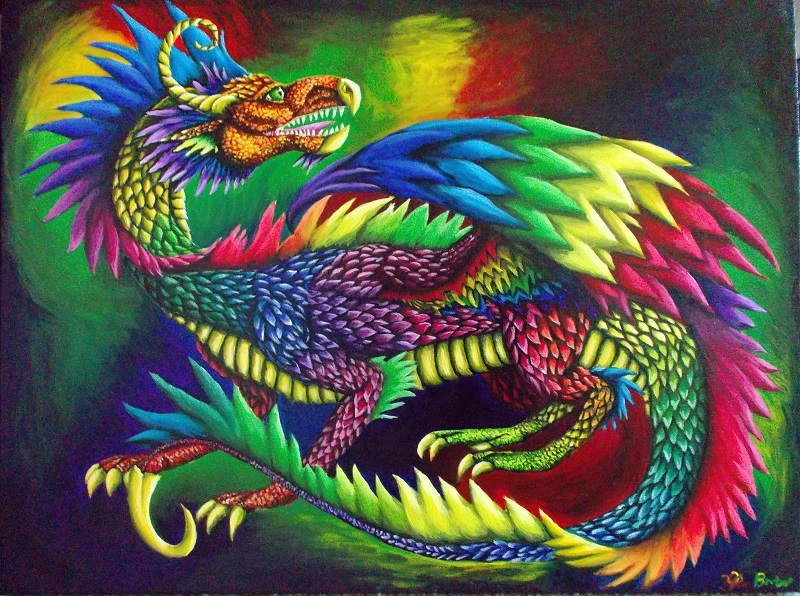 Fantasy Dragon Acrylic Painting