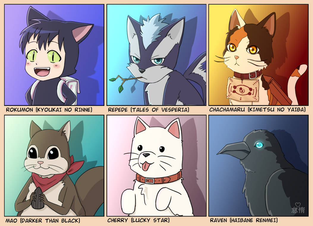 Random Animal Characters From Anime By Lover Of Idleness On Deviantart
