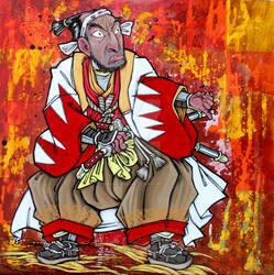 Samurai preparing to draw his sword
