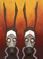 Nuclear Rabbits with Gasmasks by humangarbage