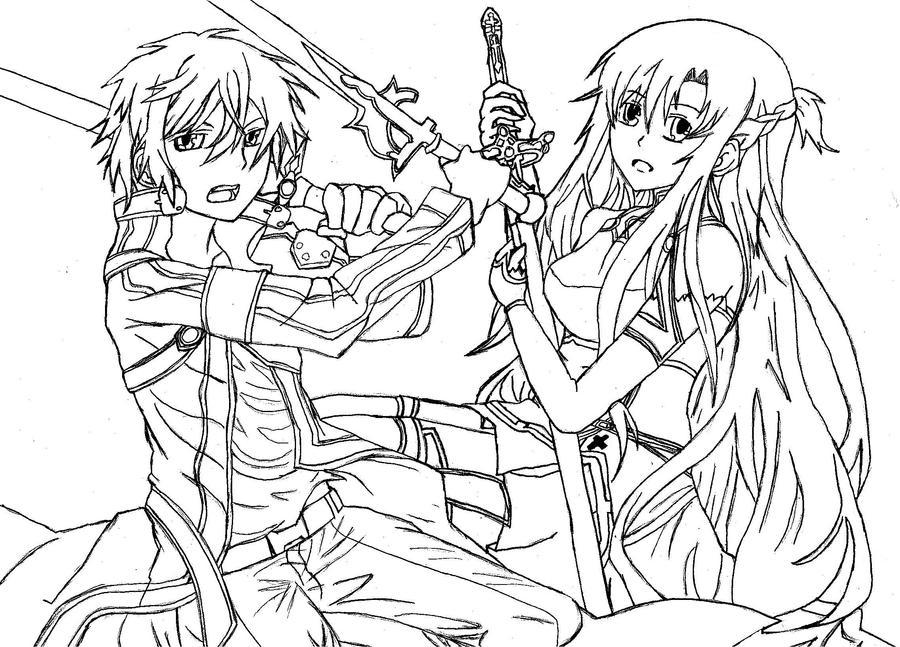 kirito and asuna coloring pages - sword art online coloring coloring pages
