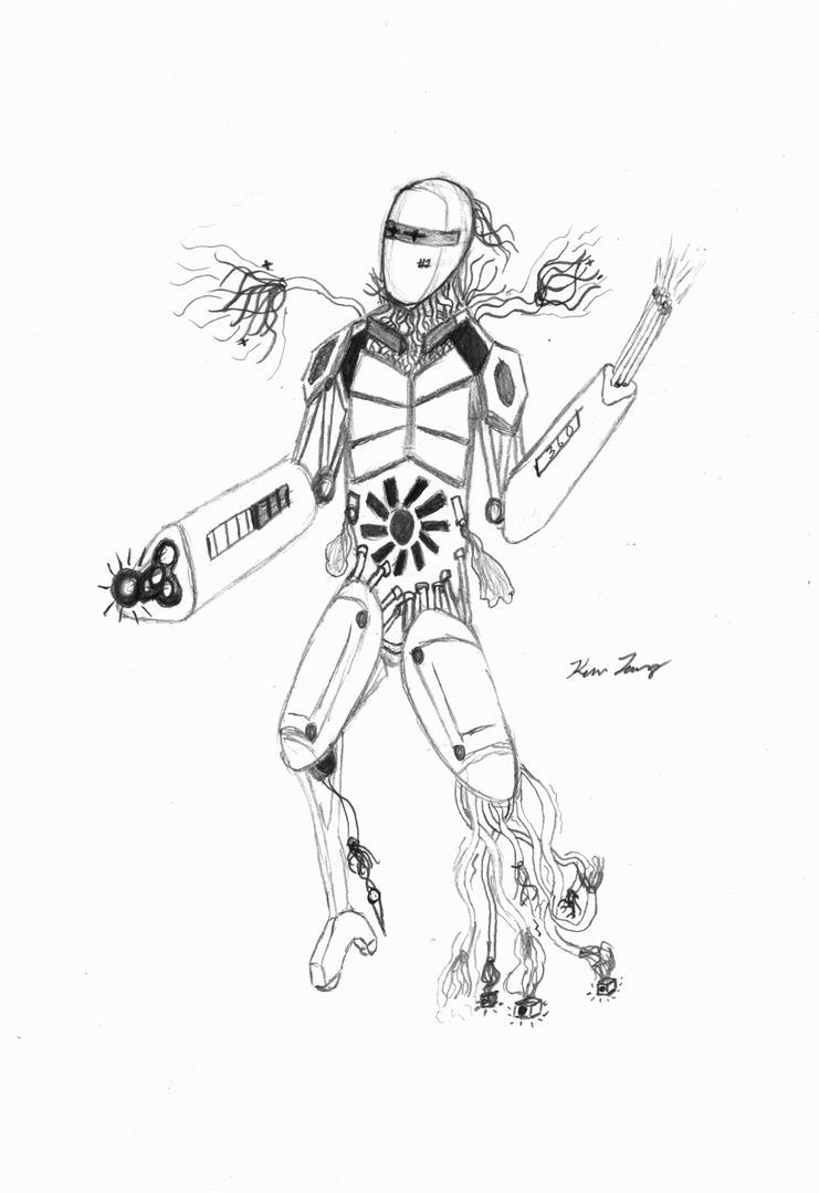 Cyborg Character Design by kjang