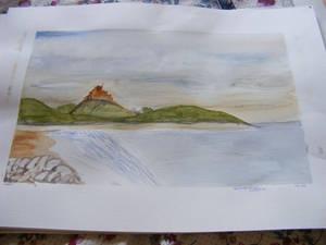 Bamburgh castle - watercolour