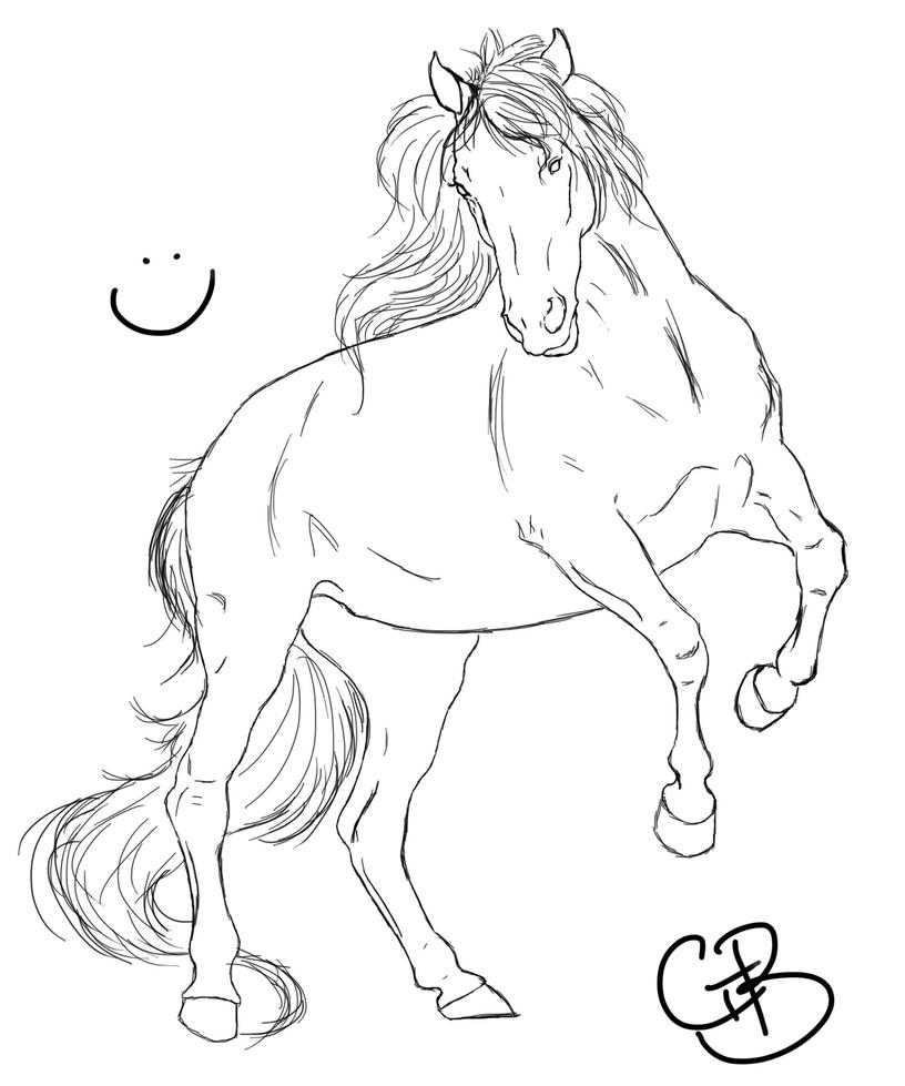 Sketch- Horse rearing (: by ChellytheBean
