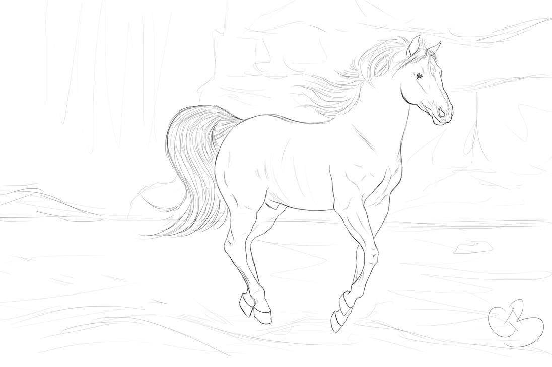 Sketch~ Beach horse by ChellytheBean