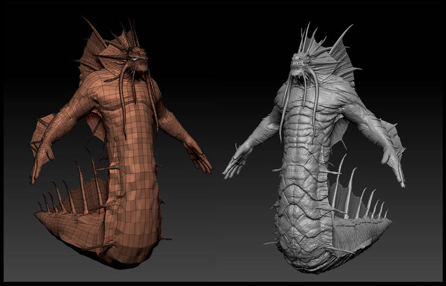 Naga high and low poly by audreee on deviantart