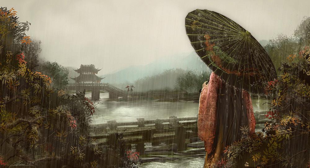lovers on a bridge by hakubaikou