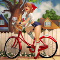 Bicycle Pinup by JessiBeans