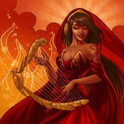 Spirit of the Firebird Harp by JessiBeans