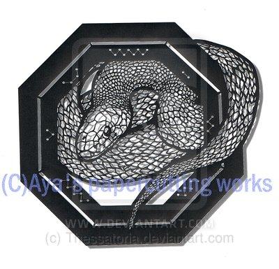 Snake papercutting by Thessatoria