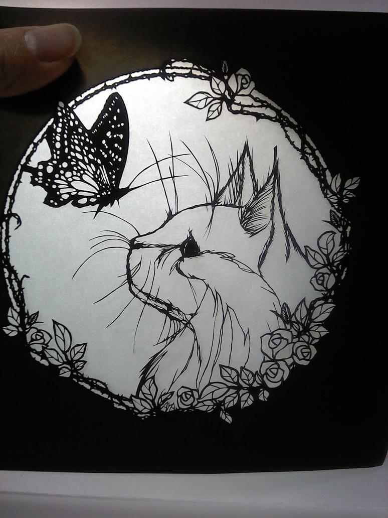 paper cut My cat by Thessatoria