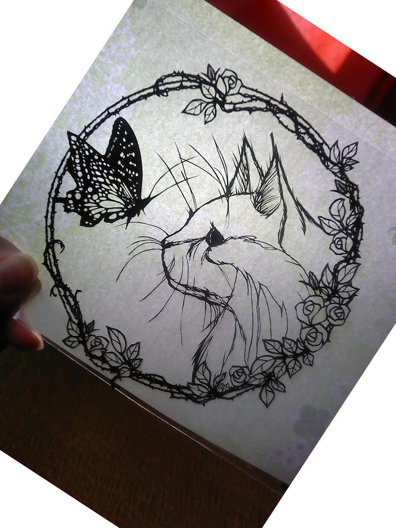 paper cutting my cat by Thessatoria