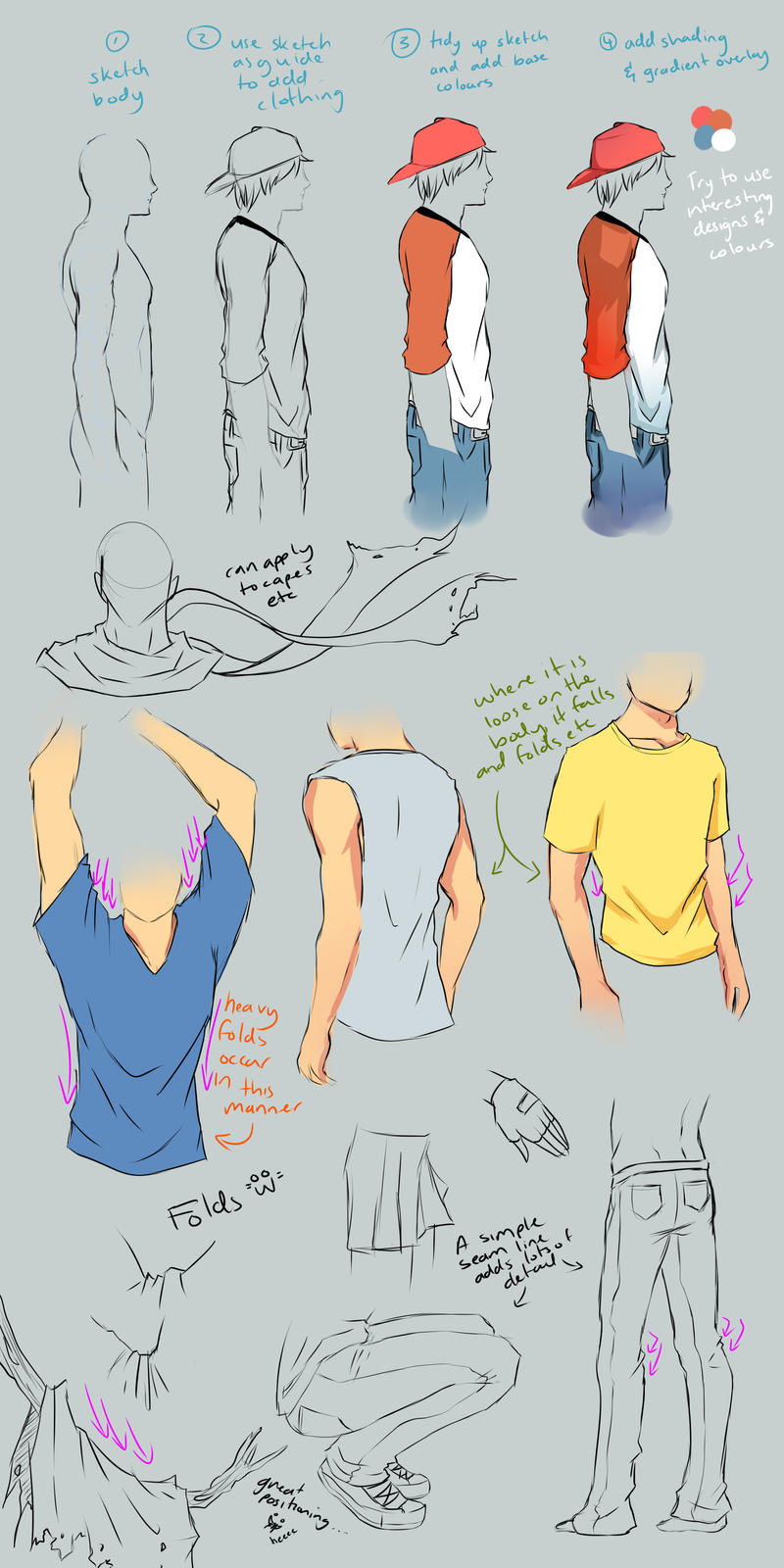 how to draw anime boy clothes