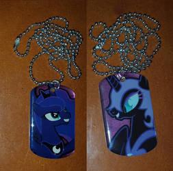 Princess Luna and Nightmare Moon dog tags by cedricc666