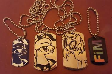 Princess Luna and Vinyl Scratch (+FIM) dog tags by cedricc666