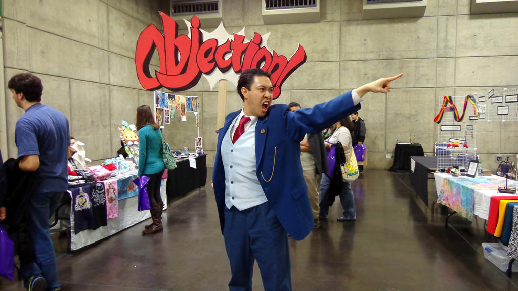 Phoenix Wright cosplay with OBJECTION! sign by bezefang on DeviantArt