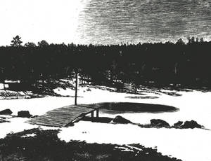 Snow Scene - Scratchboard