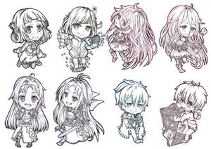 CF2014 : Chibies Bookmarks lineart