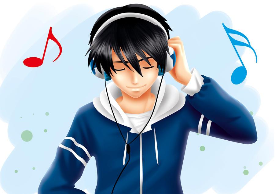 pics photos anime boy with hoodie and headphones dots hoodies boys
